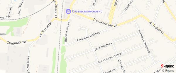 Горожанский переулок на карте поселка Суземки с номерами домов