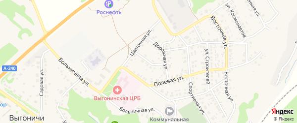 Дорожный переулок на карте поселка Выгоничей с номерами домов
