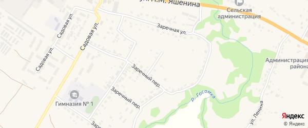 Заречный проезд на карте села Глинищево с номерами домов
