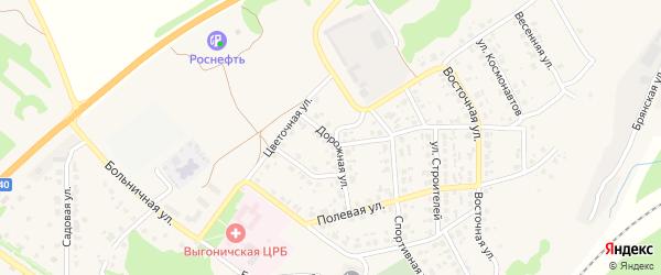 Дорожная улица на карте поселка Выгоничей с номерами домов