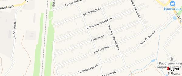 Переулок 1-й Комарова на карте поселка Суземки с номерами домов