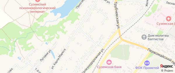 Переулок 2-й Карла Маркса на карте поселка Суземки с номерами домов