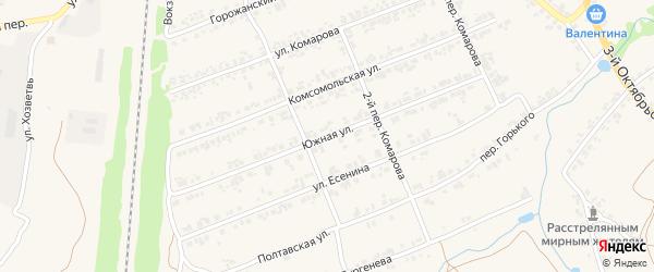 Южная улица на карте поселка Суземки с номерами домов