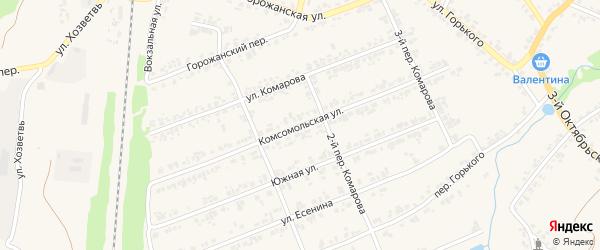 Комсомольская улица на карте поселка Суземки с номерами домов