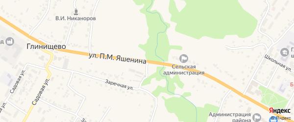 Улица П.М.Яшенина на карте села Глинищево с номерами домов