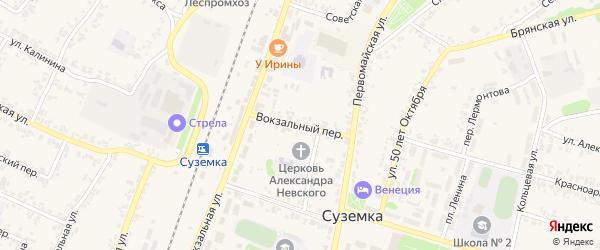 Вокзальный переулок на карте поселка Суземки с номерами домов