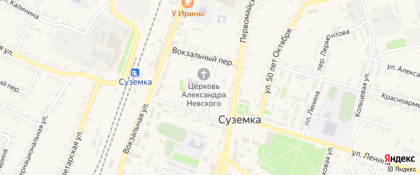 Школьный переулок на карте поселка Суземки с номерами домов