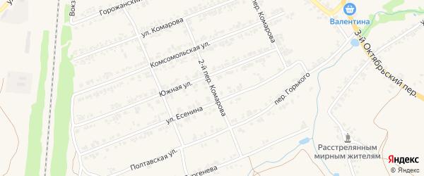 Переулок 2-й Комарова на карте поселка Суземки с номерами домов