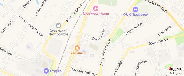 Советская улица на карте поселка Суземки с номерами домов