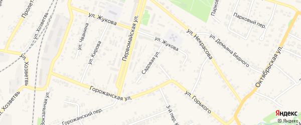 Садовая улица на карте поселка Суземки с номерами домов