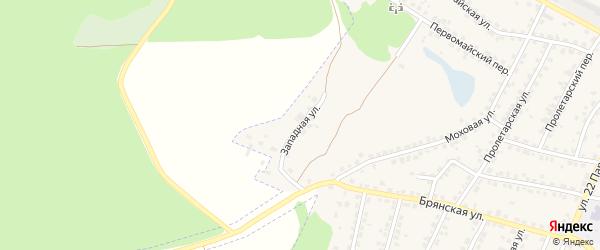 Западная улица на карте Сельца с номерами домов
