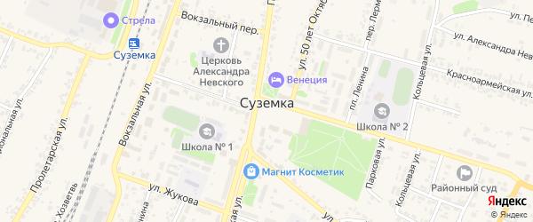 Улица Хозветка на карте поселка Суземки с номерами домов