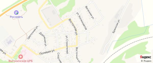 Восточная улица на карте поселка Выгоничей с номерами домов