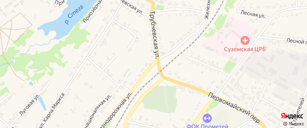 Железнодорожная улица на карте поселка Суземки с номерами домов