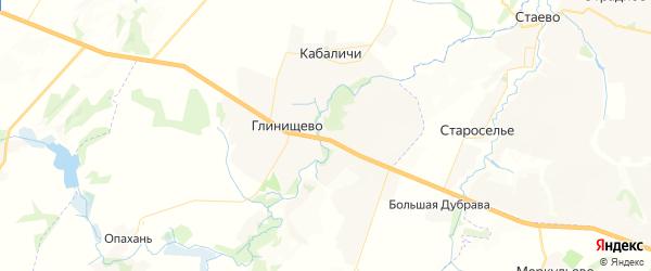 Карта территории Глинищевского сельского поселения Брянской области с районами, улицами и номерами домов