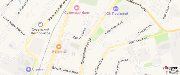 Первомайская улица на карте поселка Суземки с номерами домов