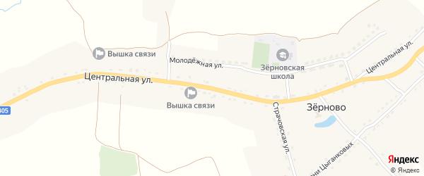 Центральная улица на карте села Зерново с номерами домов