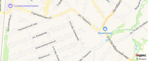 Переулок 3-й Комарова на карте поселка Суземки с номерами домов