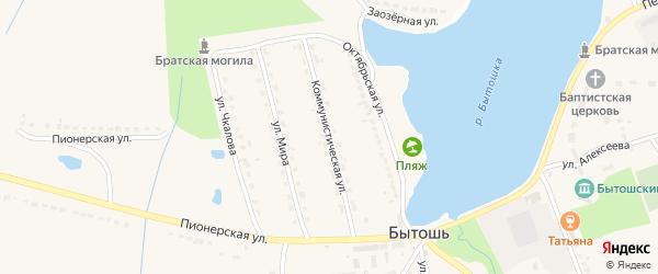 Коммунистическая улица на карте поселка Бытоши с номерами домов