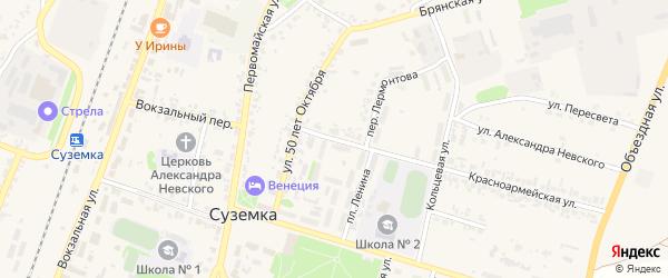 Улица Лермонтова на карте поселка Суземки с номерами домов
