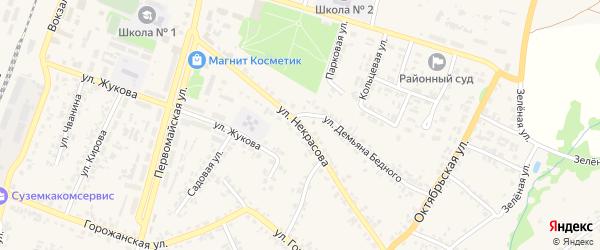 Улица Некрасова на карте поселка Суземки с номерами домов