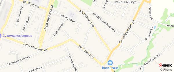 Переулок Некрасова на карте поселка Суземки с номерами домов