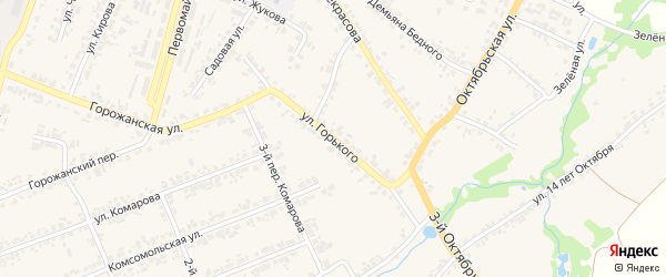 Улица Максима Горького на карте поселка Суземки с номерами домов