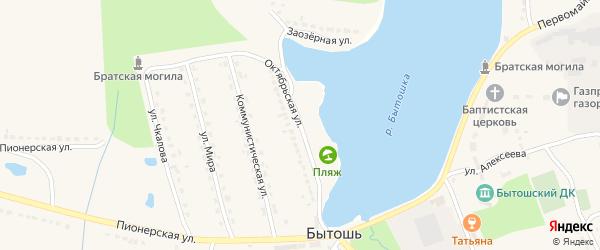 Октябрьская улица на карте поселка Бытоши с номерами домов