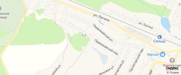 Первомайский переулок на карте Сельца с номерами домов