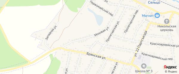 Моховая улица на карте Сельца с номерами домов
