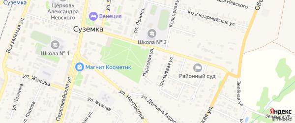 Парковая улица на карте поселка Суземки с номерами домов