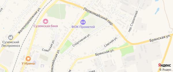 Спортивная улица на карте поселка Суземки с номерами домов