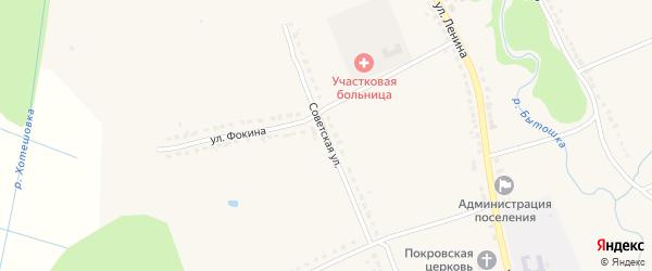 Советская улица на карте поселка Бытоши с номерами домов