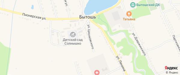 Улица Циолковского на карте поселка Бытоши с номерами домов