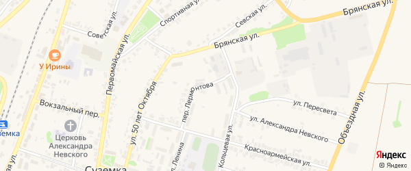 Переулок Лермонтова на карте поселка Суземки с номерами домов