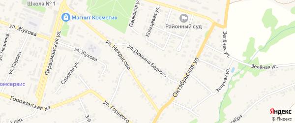 Улица Демьяна Бедного на карте поселка Суземки с номерами домов