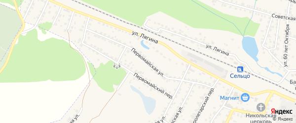 Первомайская улица на карте Сельца с номерами домов