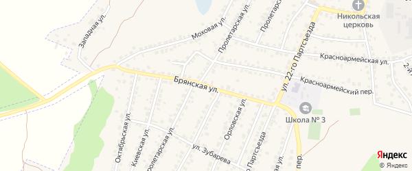 Брянская улица на карте Сельца с номерами домов
