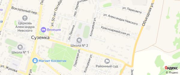 Кольцевая улица на карте поселка Суземки с номерами домов