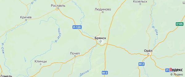 Карта Брянского района Брянской области с городами и населенными пунктами