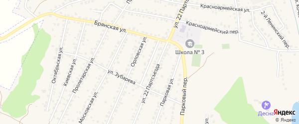 Орловский переулок на карте Сельца с номерами домов