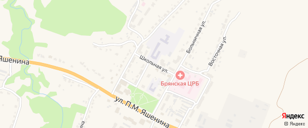 Школьная улица на карте села Глинищево с номерами домов