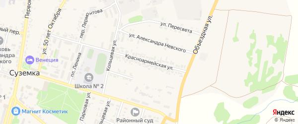 Красноармейская улица на карте поселка Суземки с номерами домов
