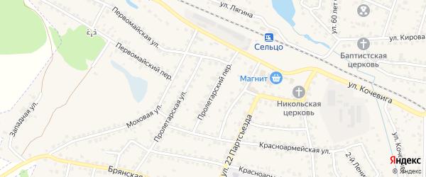 Пролетарский переулок на карте Сельца с номерами домов