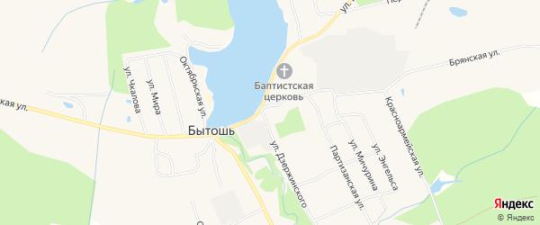 Карта поселка Бытоши в Брянской области с улицами и номерами домов