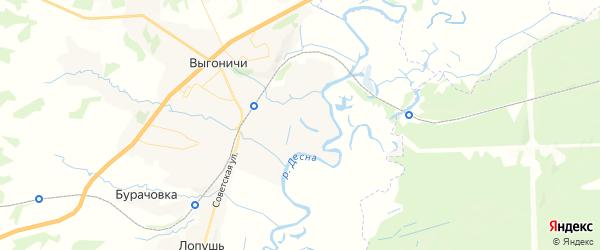 Карта территории Выгоничского городского поселения Брянской области с районами, улицами и номерами домов