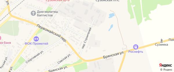 Переулок Строителей на карте поселка Суземки с номерами домов
