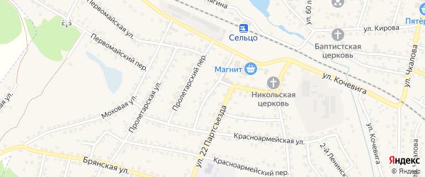 Переулок 22 Партсъезда на карте Сельца с номерами домов