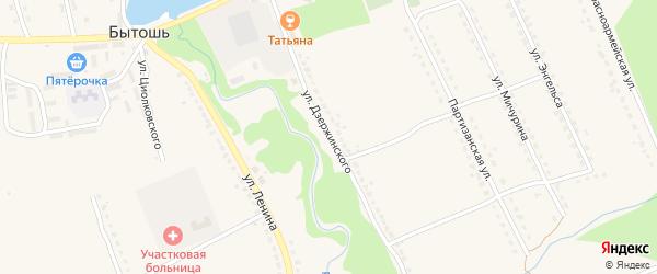 Улица Дзержинского на карте поселка Бытоши с номерами домов