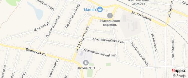 Красноармейская улица на карте Сельца с номерами домов